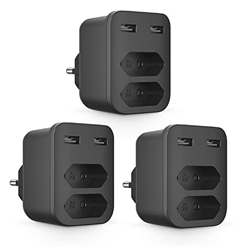 Kinglink Enchufe, Enchufe Multiple 4 en 1, Enchufe USB Multiple con 2 Tomas (Tipo C), 2 USB (Tipo A), 4000W Enchufes Pared (250V/16A), Enchufes USB Adaptador para Móvil y Tableta [3 Packs]