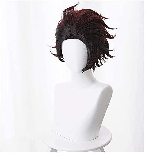 Mujeres resistentes al calor pelucas sintéticas de anime para el demonio Slayer: Kimetsu No Yaiba (Kamado Tanjirou, pelucas de netas de rosa Peluca de fibra resistente a alta temperatura POMPADOUR/P