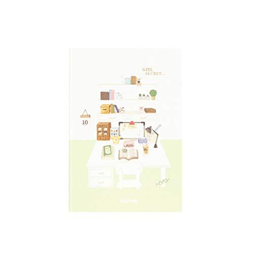 hsj Tidy Creative Student - Cuaderno de notas con planes de eficiencia de poliuretano (formato A5, tamaño simple, suave, de piel, ordenado, color verde)