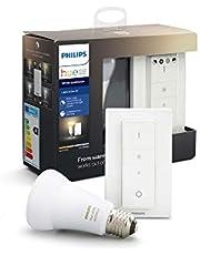 Philips Hue White Ambiance Zestaw do Przyciemniania LED - 1 żarówka E27 Bluetooth i pilot (regulator z funkcją ściemniania), światło białe, Biały