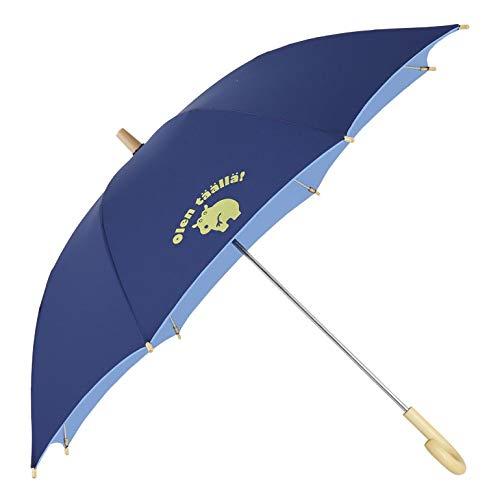 小川(Ogawa) キッズ長傘 手開き 晴雨兼用日傘 45cm クッカヒッポ ネイビー UV加工 遮熱遮光加工 反射プリント付 83225