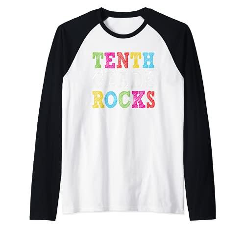 Tenth Grade Rocks Teacher Student 10th Grade Back to School Camiseta Manga Raglan