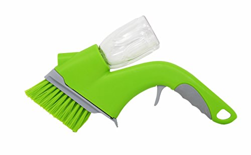 Home-X - Track Cleaning Brush with Built-in Bottle Sprayer, Easy-to-Use Multipurpose Brush Removes Dirt, Dust and Grime from Door and Window Tracks