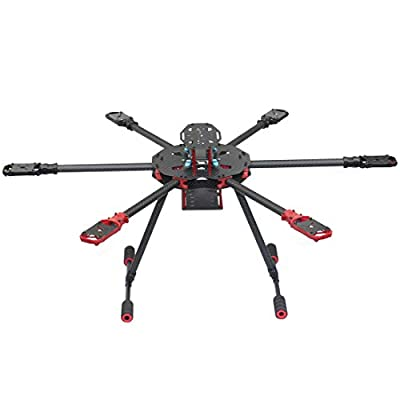 QWinOut Q705 Six-axls Folding Arm Hexacopter Aircraft Frame Kit 705MM 6-Axls Airframe with Landing Gear Skid for DIY Drone by QWinOut