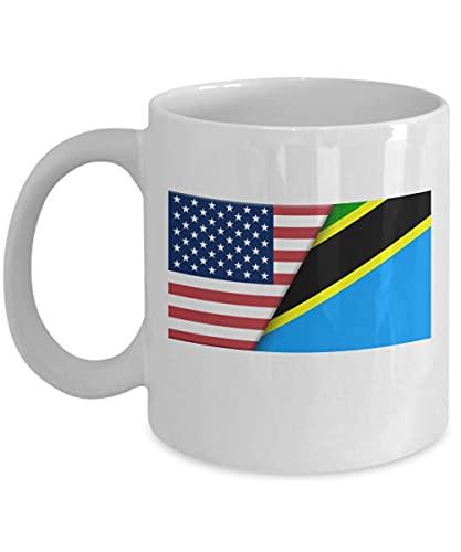 Weiße Kaffeetasse mit USA-Tansania-Flagge, 325 ml