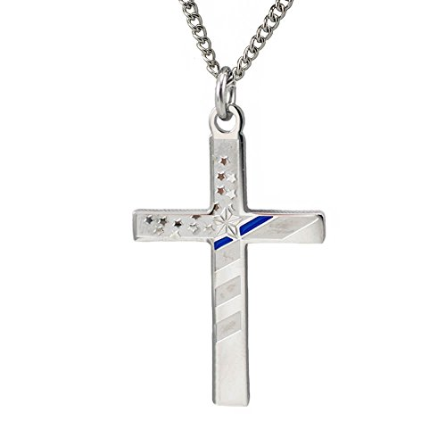 Women's Stainless Steel Flag Cross Necklace w/Thin Blue Line