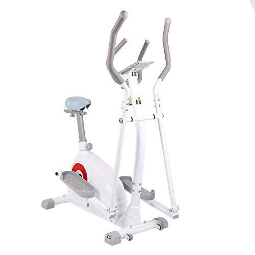 Bicicleta Elíptica Bicicleta De Spinning Máquina Caminadora Bicicleta Estática con Asiento 3 En 1 Resistencia Manual (Blanco)
