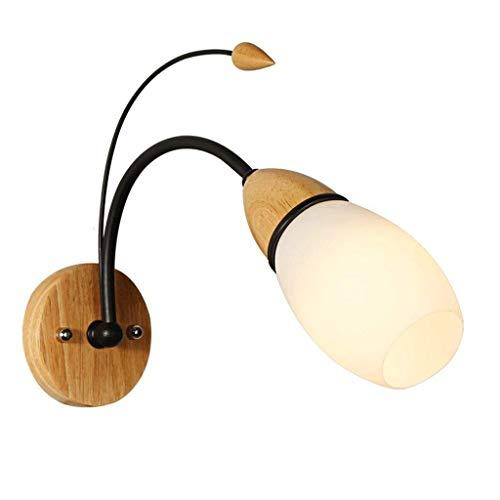 GYW-YW Lámpara de mesa de noche E27 Rose Diseño Hierro forjado de madera maciza de la lámpara de pared moderna minimalista dormitorio sala de estar de noche Pasillo Pasillo luz de la pared del accesor