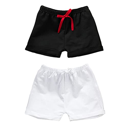 Bafeicao Baby Shorts 2-Pack Toddler Boys Summer Casual Cotton Short Pants,Black + White,2-3T