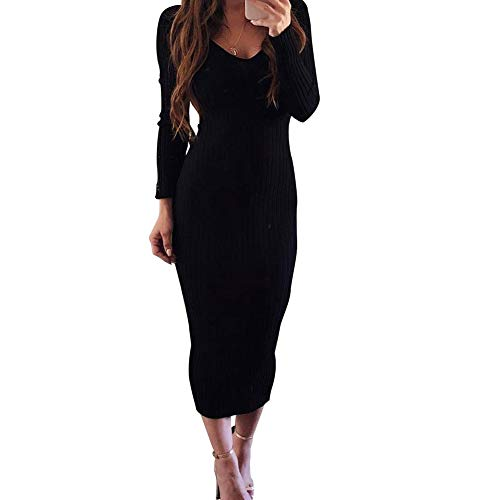 Zyyfly Women Sexy V Neck Knit Long Sleeve Solid Ribbed Bodycon Midi Dress