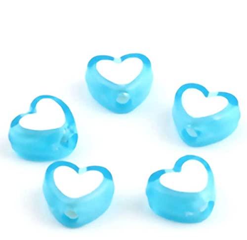 Sadingo Cuentas para manualidades con forma de corazón (300 unidades, 8 x 7 mm), color azul