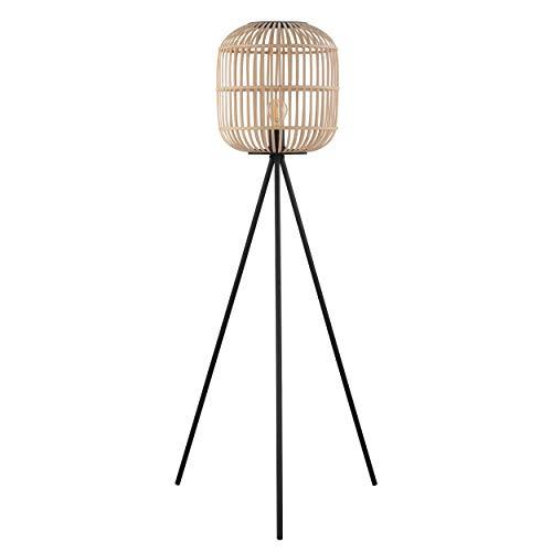 EGLO Lámpara de pie Bordesley, 1 lámpara de pie vintage, natural, boho, Hygge, lámpara de pie de acero en negro y madera en colores naturales, lámpara de salón, lámpara con interruptor, casqui