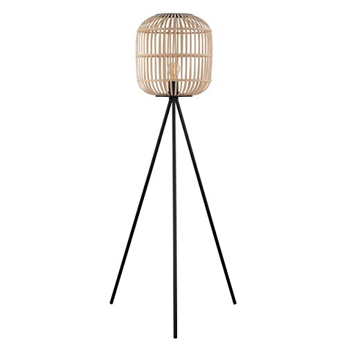 EGLO Stehlampe Bordesley, 1 flammige Stehleuchte Vintage, Natur, Boho, Hygge, Standleuchte aus Stahl in schwarz und Holz in Naturfarben, Wohnzimmerlampe, Lampe mit Tritt-Schalter, E27 Fassung