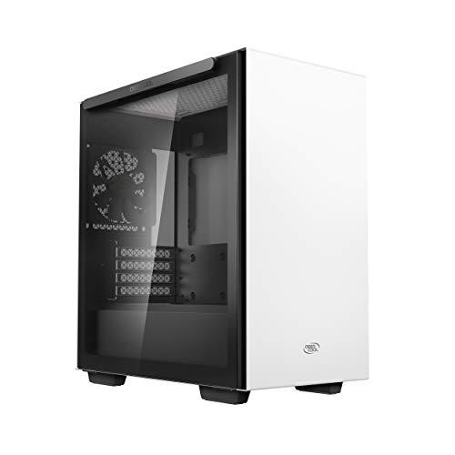 DEEPCOOL Macube 110, Boîtier PC MATX, Un Panneau latéral magnétique en Verre trempé, Un Panneau supérieur grillagé, Blanc