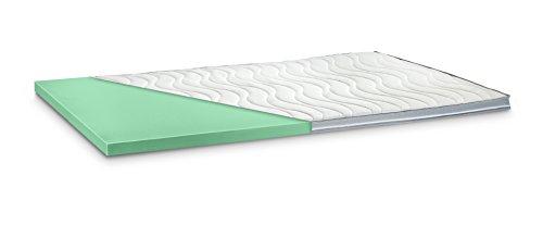 Kaltschaum Topper Matratzenauflage | 7 cm Gesamthöhe | abnehmbarer und waschbarer Bezug | Bezug mit 3D-Mesh-Klimaband und Stegkanten | H2 - weich | 100 x 200 cm