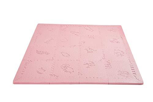 LuBabymats Mini - Alfombra puzzle de viaje para bebés, suelo extra acolchado de Foam (EVA). Medida: 110x110 cm. Color Rosa