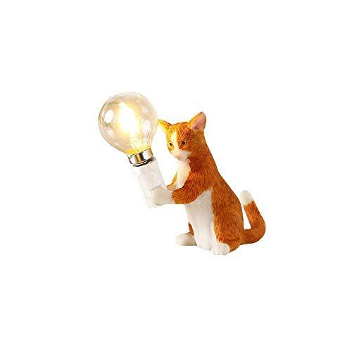 DKEE (naranja minimalista dormitorio dormitorio estudio, creativo, lámpara de escritorio de oficina LED, pequeño gato de resina (color: C)
