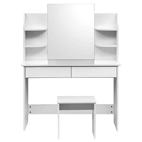 WOLTU Schminktisch Kosmetiktisch mit Hocker und Spiegel, Hochglanz Tischplatte, 108x40x143cm, Frisierkommode Schminkspiegel MB6044ws, Weiß