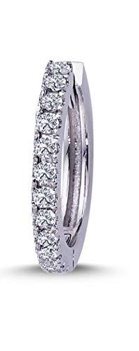 Orecchini a cerchio da uomo in oro bianco 585 14 carati con diamante