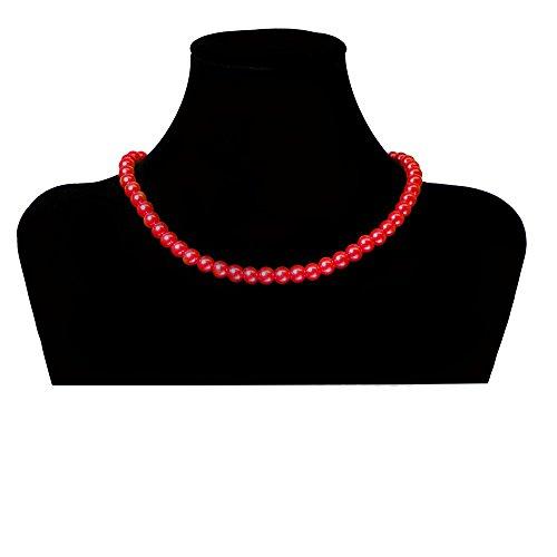 SoulCats Eine süße Kette Perlenkette Perlen viele Farben XXL kurz pink blau Creme, Farbe:rot;Kettenlänge:42 cm