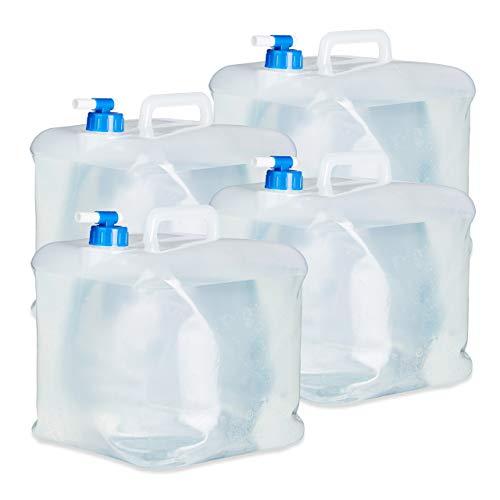 Relaxdays Wasserkanister faltbar, BPA-freies 4er Set, 15L mit Hahn, Haltegriff, Camping Faltkanister, lebensmittelecht