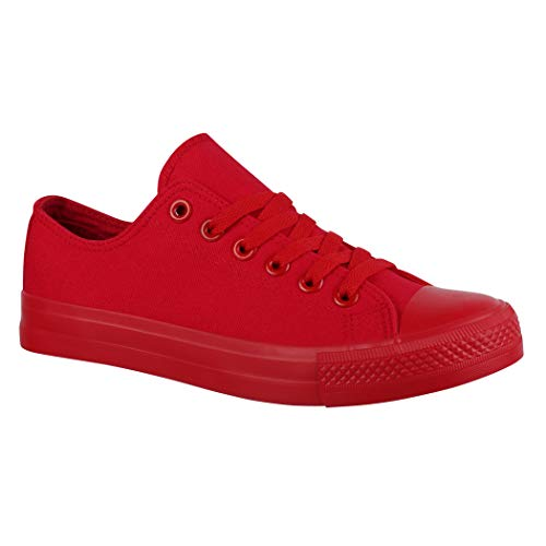 Jumex Unisex Sneaker Textil Turnschuh Low top Chunkyrayan 36-46 ZY9032-Rot-46