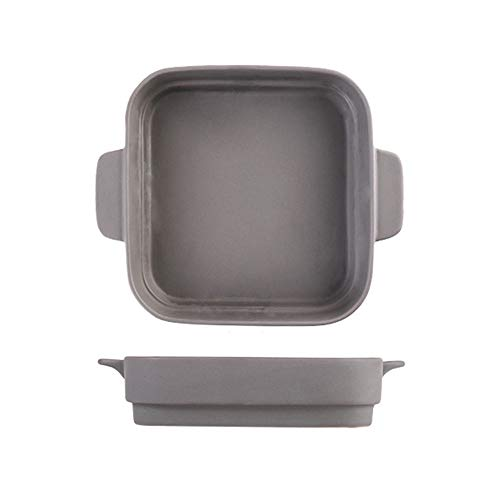 ZzheHou Utensilios para Hornear De Cerámica Binaural Recipiente for Hornear Cuadrado cerámica de Alta Temperatura for Hornear Queso Pan Pan Pan Pure Color de cerámica (Color : Gris, Size : One Size)