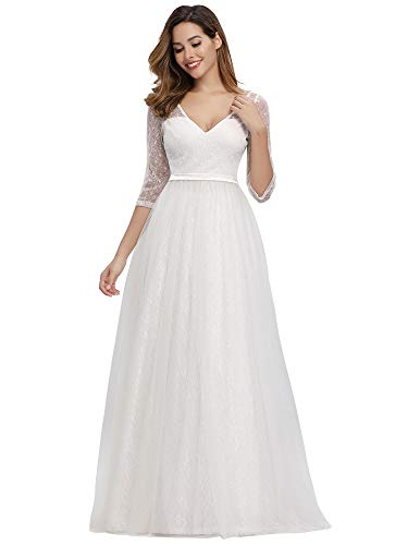 Ever-Pretty Women's See-Through Floral Lace Dress Wedding Guest Dress for Women White US14