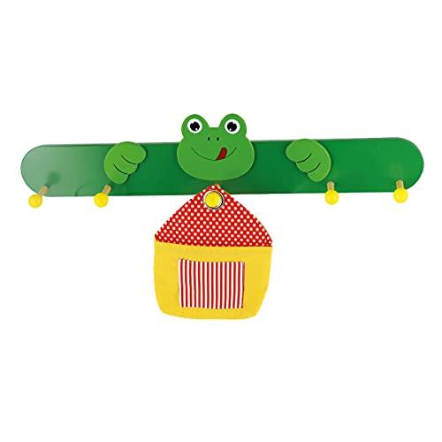 Bieco Holz Kindergarderobe Frosch | 5 Garderobenhaken | Kinder Kleiderhaken | Holzgarderobe für Kinderzimmer | Garderobenleiste Holz bunt | wardrobe | Jackenhalter | Wandgarderobe