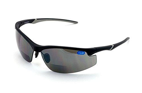 V.W.E. Bifocal High Performance Protective Safety Glasses Light Mirror Tint Bifocal - Reader - Sunglasses Ansi Z87.1 (Matte Black, 2.50)