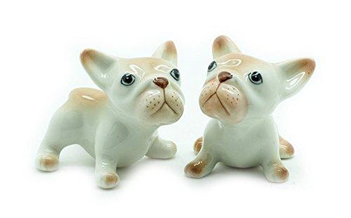 Grandroomchic Dollhouse Animal Miniature Handmade Porcelain Statue Ceramic Decorative 1/24 Scale 2 French Bulldog Dog Figurine Collectibles Gift