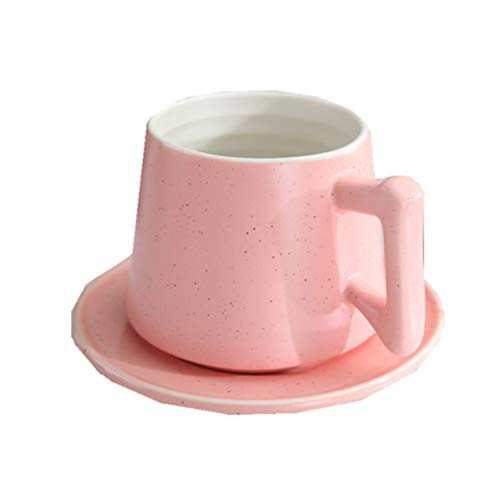 Cups elegant_RG Ensembles de Tasses et de soucoupes à café au Lait de Petit-déjeuner de Gypsophila Gommage Mate pour Cappuccino Tasses Sub-Pink 300 ML