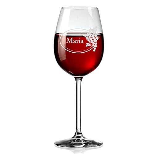 polar-effekt Leonardo Weinglas Personalisiert mit Gravur - Rotwein-Glas 460ml - Geschenkidee für Männer, Frauen - Motiv Wein Emblem