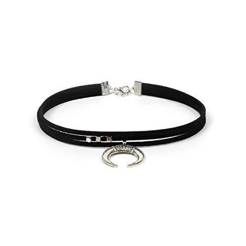Conjunto de collares de gargantilla de terciopelo negro Gargantilla de tatuaje de estiramiento gótico Collares con colgante de luna elástica para mujeres y niñas - Negro