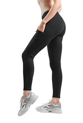 Sheebo Womens Cotton Spandex Basic Full Length Classic Pockets Leggings Pants (Black, Large)