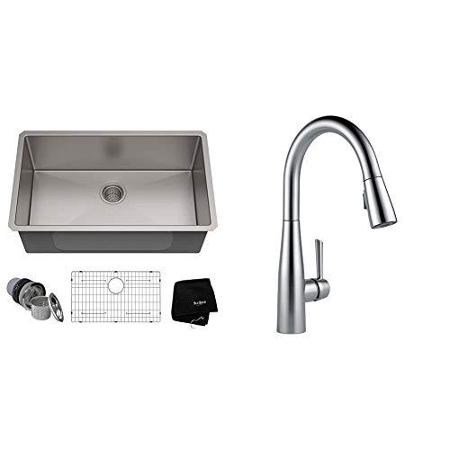 Kraus KHU100-30 Kitchen Sink, 30 Inch, Stainless Steel & DELTA Faucet Essa Pull Down Kitchen Faucet with Pull Down Sprayer, Kitchen Sink Faucet, Arctic Stainless 9113-AR-DST
