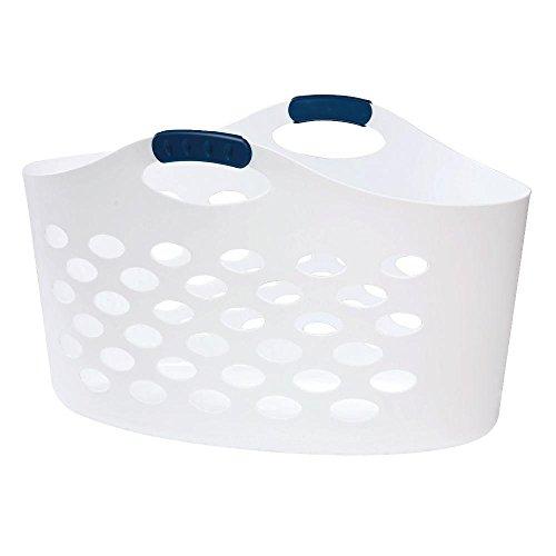 Rubbermaid Flex 'N Carry White Laundry Basket, 1.5 bushel capacity