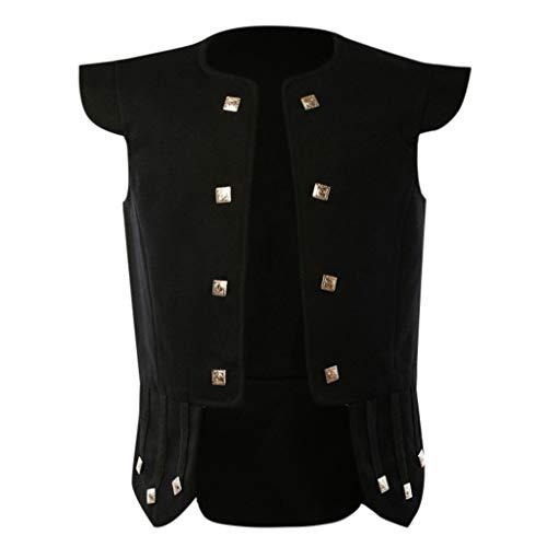 MAYOGO Herren Jacke Frack Steampunk Gothic Gehrock Uniform Cosplay Kostüm Smoking Mantel Retro Viktorianischen Sweatjacke Outwear (Schwarz, XL)