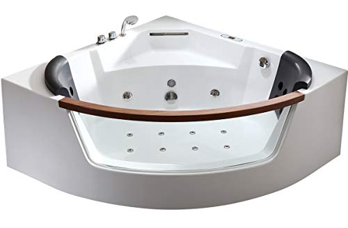 Product Image of the EAGO AM197ETL 5' Clear Rounded Corner Acrylic Whirlpool Bathtub for Two, White