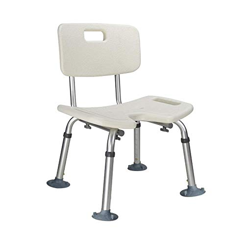 Home Height Adjustable U Shape Bathroom Seat Shower Chair Shower Bathtub Shower Stool with Backrest Non Slip Foot Pads for Assist