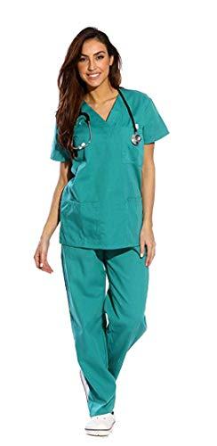 Divise Complete da Lavoro Vari Colori Medico Infermiera OSS Sanitario Estetista Unisex (S, Verde)