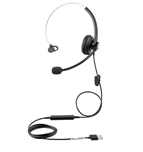 USB Plug Hands-Free Call Center Noise Cancelling Corded Monaural Headset Headphone with Mic Mircrophone for Both Office PC VOIP Softphone and Telephone with USB Plug for Headset