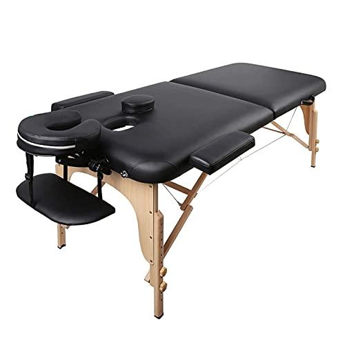Lettino Massaggio Lettini per Massaggi Pieghevole 2 Zone Facile da Installare con Struttura in Legno Faggio Tedesco, Custodia per Trasporto, Poggiatesta e Bracciolo Staccabile Nero (13kg)