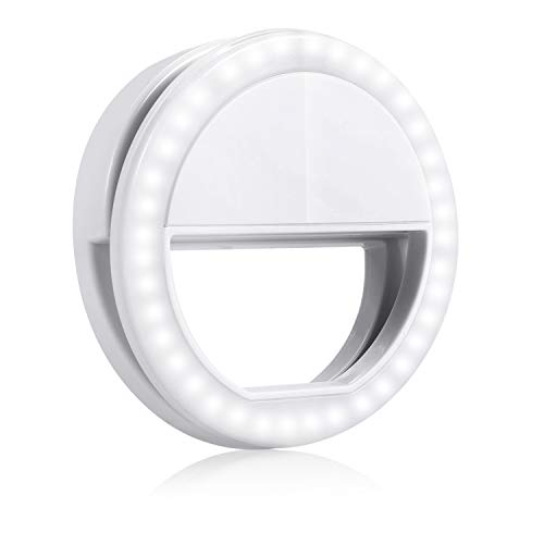 GIM l180 Selfie Ring Light, Clip on Selfie Fill Light with 36 LED Light, 3-Level Adjustable Brightness Compatible for iPhone, iPad, Android, Tablet, Laptop, Camera Video (White)