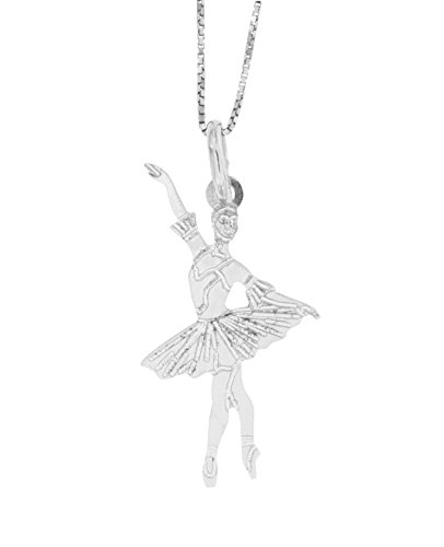 Padre Nostro - Collana veneziana 45CM e ballerina danza classica in Argento 925 rodiato pendente 30x16MM