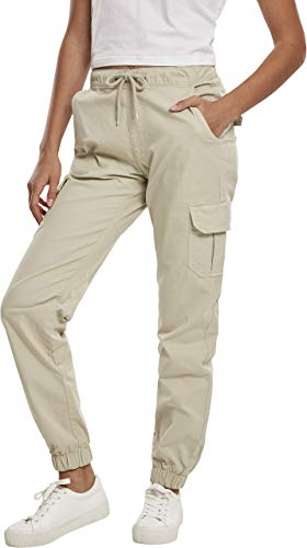 Urban Classics Damen Ladies High Waist Cargo Jogging Pants Hose, Concrete, M
