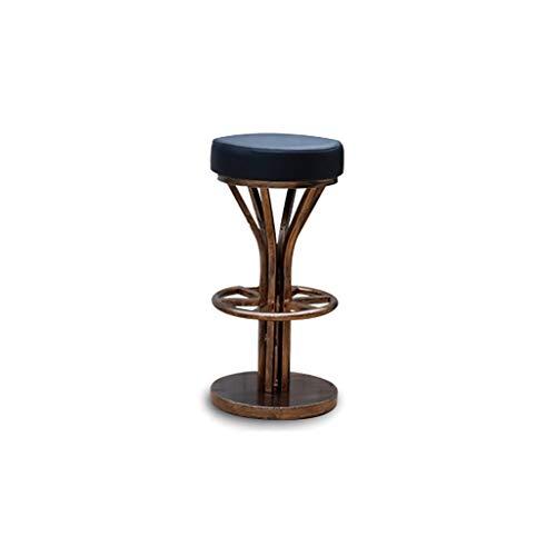 BAR STOOL LF- [Metal] Silla de bar de hierro forjado retro KTV simple redondo antiguo cobre/taburete alto metal simplicidad (color: negro)