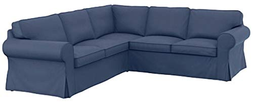 The Thick Cotton IKEA Ektorp 2 2 Sofa Cover Replacement is Custom Made for IKEA Ektorp Corner Or Sectional Sofa Slipcover (Dark Blue)