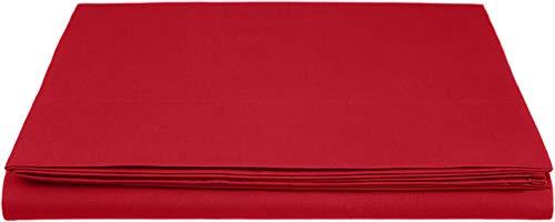 Amazon Basics Everyday - Sábana encimera (100% algodón), 275 x 275 cm - Rojo oscuro