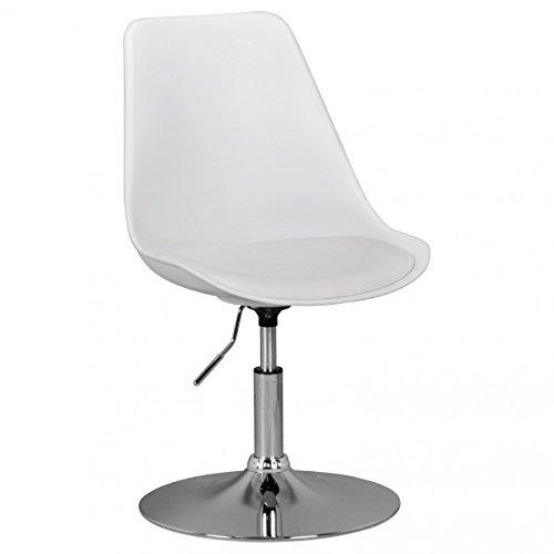 FineBuy HAINAN | Drehsessel Esszimmerstuhl Kunstleder-Sitzfläche Weiß | Drehstuhl ist höhenverstellbar | Drehhocker mit Rückenlehne | Besucherstuhl mit Schalensitz | Wartezimmerstuhl ohne Armlehnen